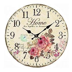 SkyNature Quartz Movement Silent Non-Ticking Wooden Wall Clocks (14 inch home)