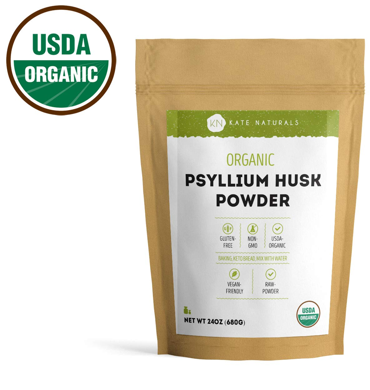 Psyllium Husk Powder Organic by Kate Naturals (1.5lb). Perfect for Baking, Keto Bread and Consuming With Water. Gluten-Free & Non-GMO. Large Resealable Bag. 1-Year Guarantee (24oz). by Kate Naturals