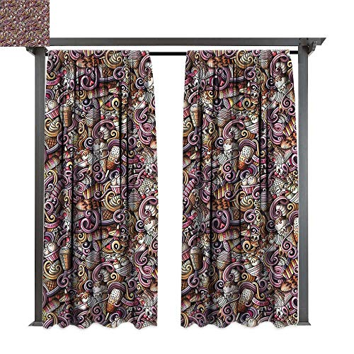 cobeDecor Outdoor Curtain Colorful Ice Cream Cherries Vanilla for Lawn & Garden, Water & Wind Proof W108 xL108