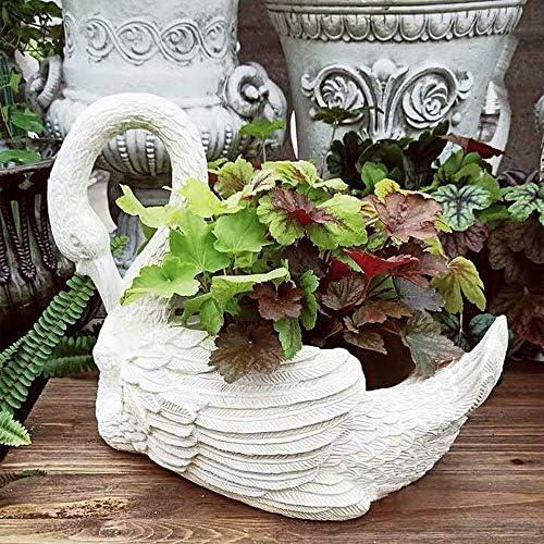 庭の装飾品ヴィンテージスワングレー2色植木鉢防水酸化マグネシウム庭の庭の風景芝生装飾ギフト-40 * 23 * 30 cmホワイト