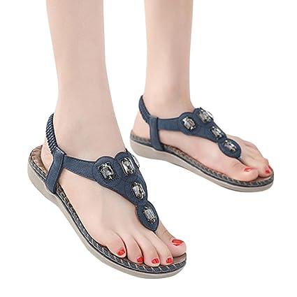 d0169beb6830de Luckylin Women Juniors Flat Shoes Bohemia Lady Rhinestone Sandals Outdoor  Shoes (Blue