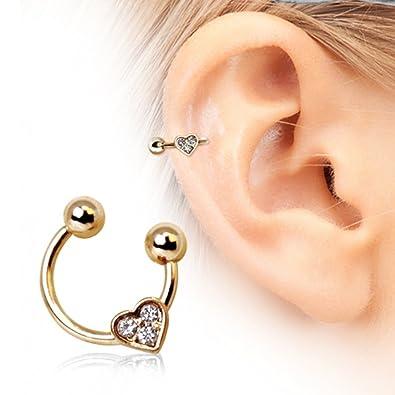 92c752bbf WildKlass Jewelry Women's Heart Gemmed Horseshoe Cartilage Earring 316L  Surgical Steel: Amazon.co.uk: Jewellery