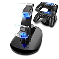 Tiancai PS4 Controller Gaming Caricabatteria Dual USB Charging Docking Station Stand per Playstation 4 PS4 PS4 Pro
