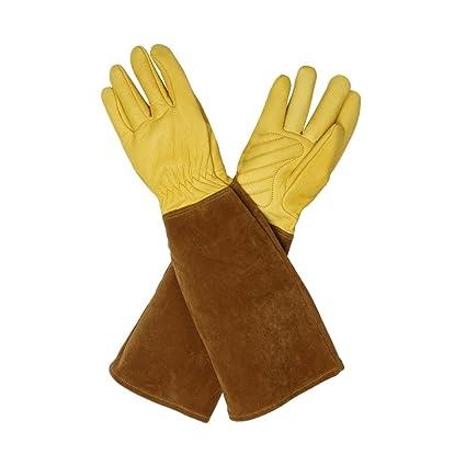 Rosa poda guantes, piel de cabra guantes de jardinería Riggers guantes protectores de brazo guantes