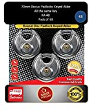 Pack of 48, JANSEL Keyed Alike 70mm Round Disc Padlock with Shielded Shackle, 2-3/4-inch, Stainless Steel Round Disc Storage Pad Locks All the same key