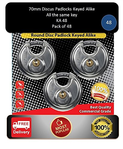 Pack of 48, JANSEL Keyed Alike 70mm Round Disc Padlock with Shielded Shackle, 2-3/4-inch, Stainless Steel Round Disc Storage Pad Locks All the same key by JANSEL