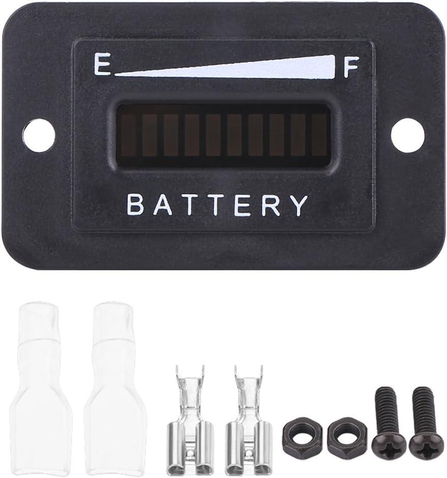 Indicador digital de batería LED Indicador de carro de golf, 12V / 24V / 36V / 48V Indicador de batería para carrito de golf con medidor de horas(BI001-12/24V)