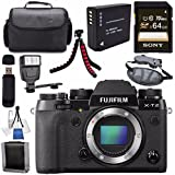 Fujifilm X-T2 Mirrorless Digital Camera (Black) 16519247 + NP-W126 Lithium Ion Battery + External Rapid Charger + Sony 128GB SDXC Card + Carrying Case + Tripod + Flash + Memory Card Wallet Bundle