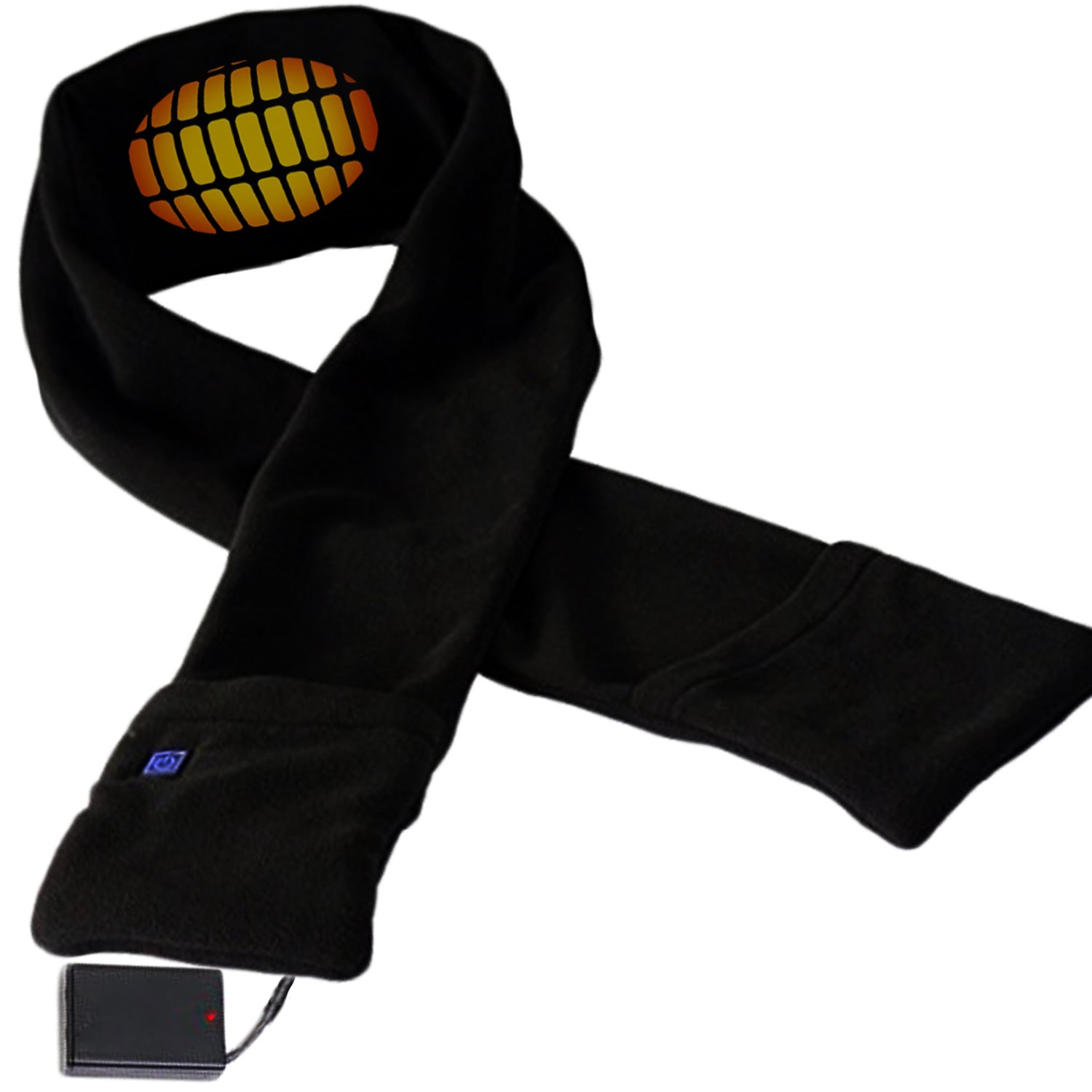 Heated Scarf with Neck Heat Pad - Electric Battery Operated Heated Neck Wrap, Heated Clothing for Men, Heated Scarves for Women, Cold Weather Neck Warmer Fleece Scarf with Pockets to Keep Hands Warm