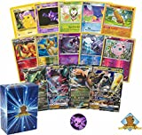 50 Pokemon Card Lot With a GX Dragon Type Pokemon And an EX Dragon Type Pokemon! Comes With Foils And A Coin! Includes A Golden Groundhog Deck Box!