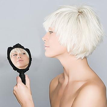 Beauty Newbeauty New Handheld Retro Women Ladies Makeup Hand Held Mirror Black Mini