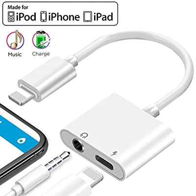 Headphone Jack Adapter for iPhone 11 pro Dongle 3.5mm Jack Car Charger AUX Converter Splitter Charge & Audio Adapters Cables 2 in 1 for iPhone 8/8Plus/7/7Plus/X/10/Xs/Xs Max Earphone Adaptor Splitter: Home Audio & Theater
