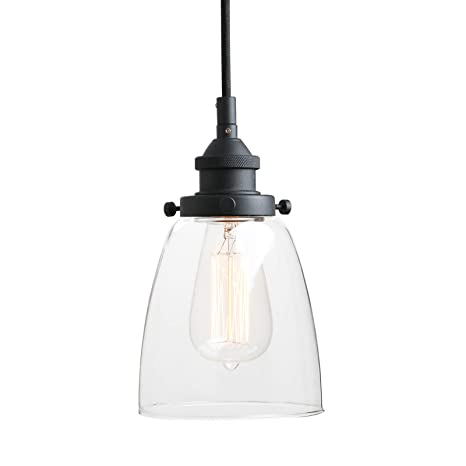 Pathson Retro Pendant Lighting, Industrial Small Hanging Light with Clear  Glass and Textile Cord, Adjustable Kitchen Lamp for Hotels Hallway Shops ...