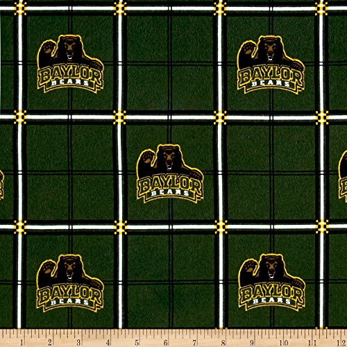 Sykel Enterprises NCAA University Baylor Bears Flannel Plaid Fabric by The Yard
