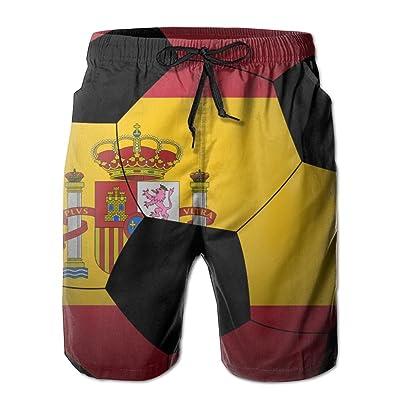 RUITO Spanish Flag Football Men Summer Breathable Quick-Drying Swim Trunks Beach Shorts Cargo Shorts