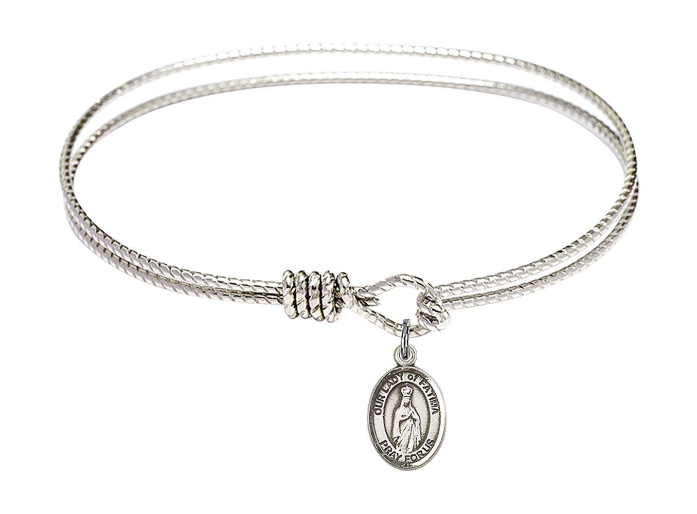 7 1/4 inch Oval Eye Hook Bangle Bracelet w/Our Lady of Fatima in Sterling Silver