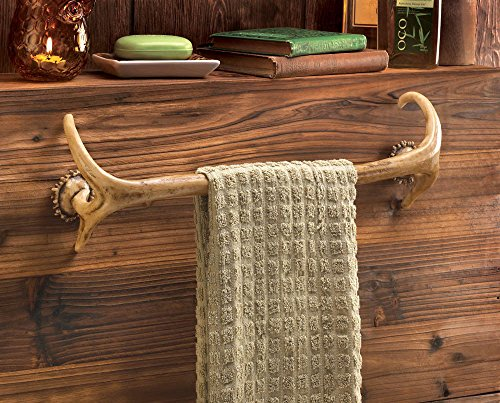 Deer Antler Hunting Lodge Cabin Rustic Decor Bathroom Bath Towel bar Rack Hook