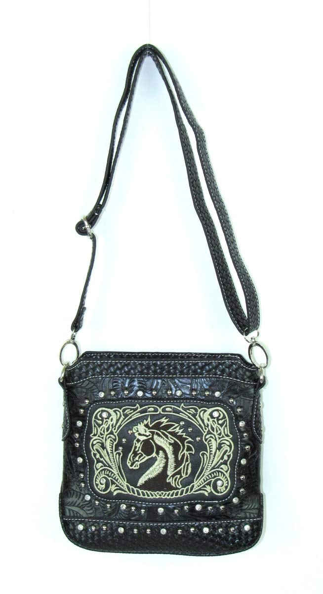 Savana HST-939 BK Embroidered Horse Head Messenger Bag /& Decor Black