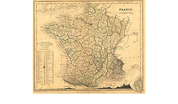 Map Of France Mountains.Amazon Com France Dower Orr Mountains 1840 Old Map Antique