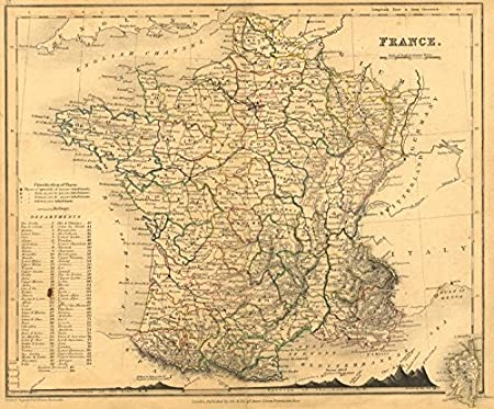 Map Of France With Mountains.France Dower Orr Mountains 1840 Map Amazon Co Uk Kitchen Home