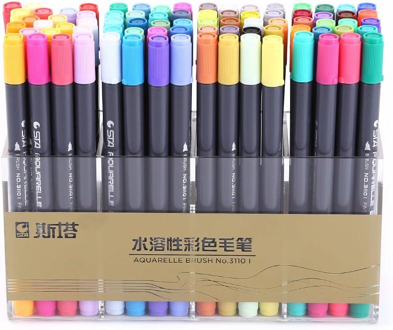 80色マーカーペン、デュアルヒントウォッシャブルウォーターマーカーペンペイントハイライト用のファインおよびソフトブラシ