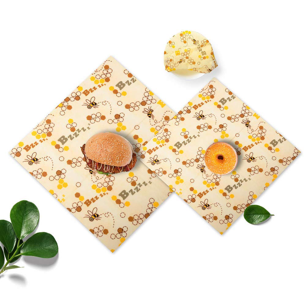 Reusable Beeswax Food Wrap Sandwich Bags Free Wrapping Paper Storage Handmade Packaging,Assorted 3 Pack by lucky3
