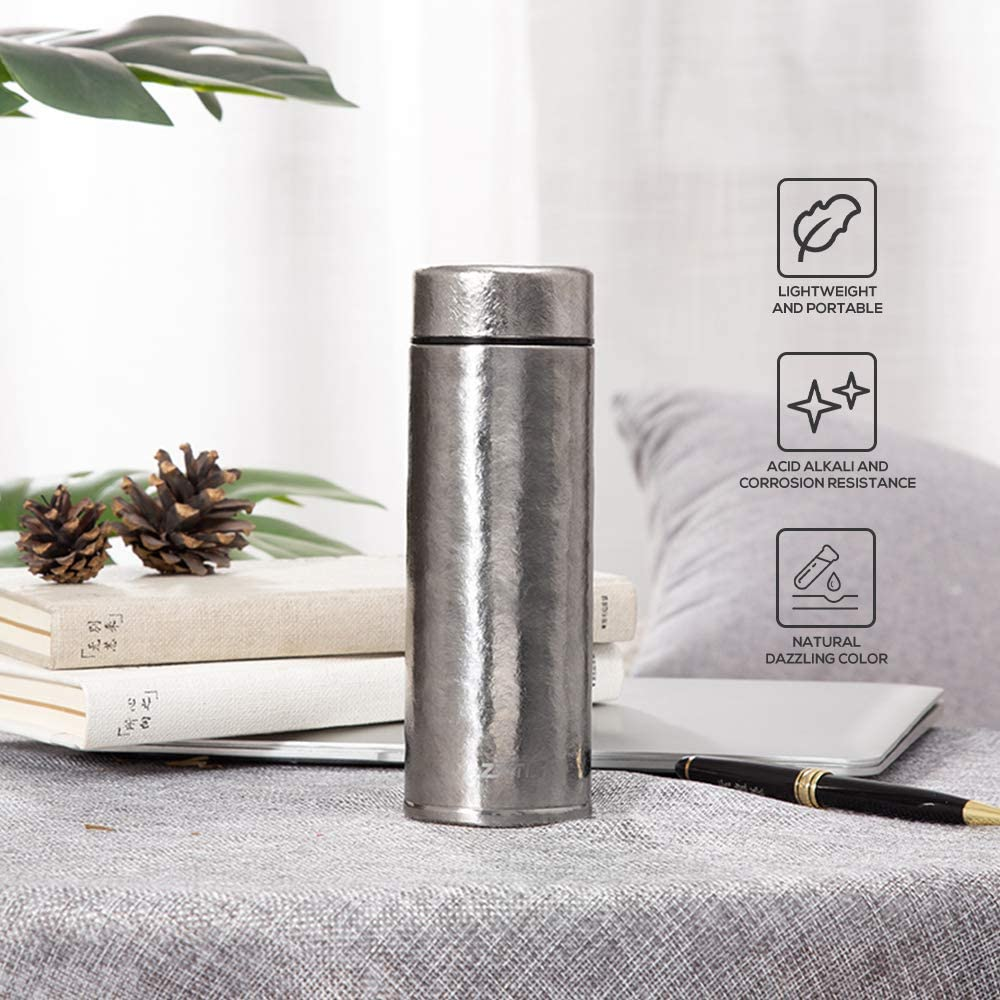 Walmeck Pure Titanium Water Bottle Vacuum Insulated Cup Bottle 260ml/400ml Hot Cold Vacuum Flask Gift for Friends
