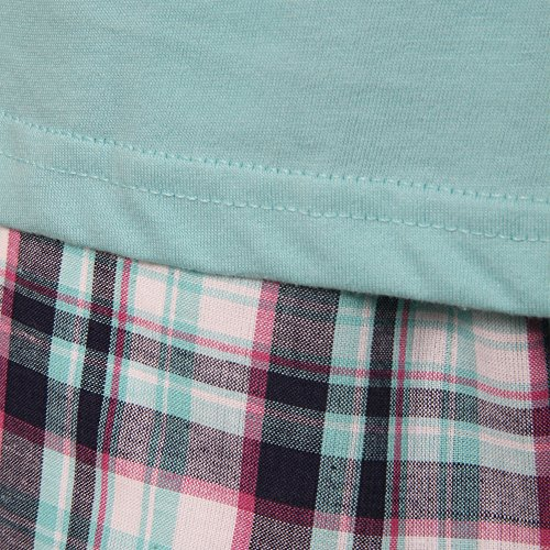 Storelines Herren Schlafanzug Aqua Navy Pink White