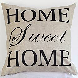 """Akery Home Sweet Home Cotton Linen Throw Pillow Cases Decorative Cushion Covers, 18"""" x 18"""""""