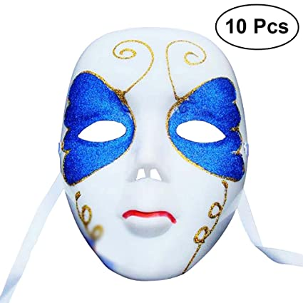 BESTOYARD 10pcs Masquerade Masks Painting Full Face Carnival Face Mask Performance Props for Women Ladies (