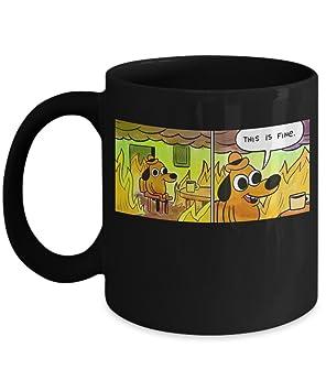 618hrL lxAL._SY355_ this is fine mug (black) 11oz this is fine meme coffee mug funny
