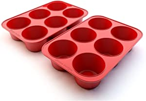Silicone Texas Muffin Pans and Cupcake Maker, 6 Cup Large, Set of 2, Professional Use