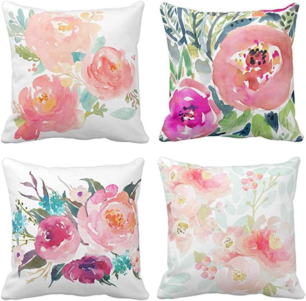 pink white flowers 464F Fashion Cotton and linen Square Pillow cases Brown