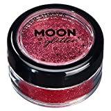 Fine Glitter Shakers by Moon Glitter – 100% Cosmetic Glitter for Face, Body, Nails, Hair and Lips - 0.17oz - Red