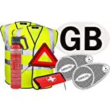European Travel Kit 4 (2 x Hi-Vis Jacket, Adhesive GB Sticker, Pair Of Beam Benders, Warning Triangle, First Aid Kit, 600g Fire Extinguisher)