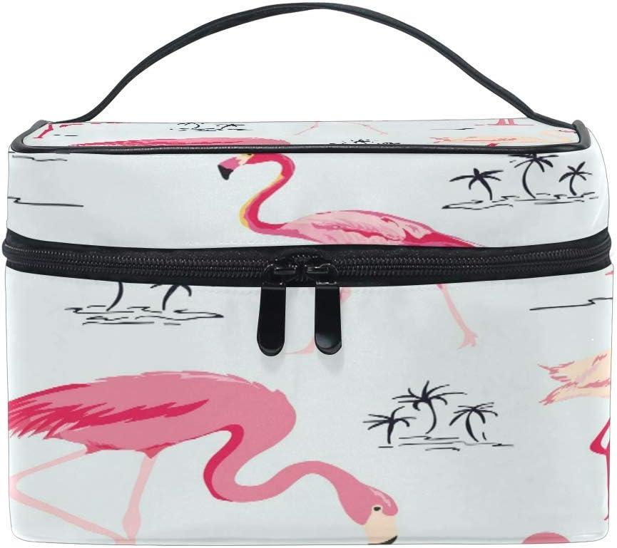 Bolsa de maquillaje, diseño de palmeras tropicales de flamencos, estuche de viaje portátil con impresión grande, organizador de bolsas para niñas y mujeres