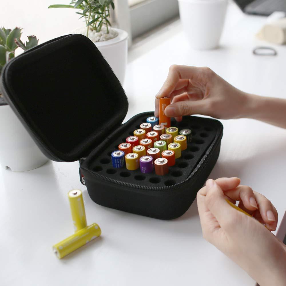 H/ält 48 Batterien AAA mit Handschlaufe Batterie Aufbewahrungsbox Batteriebox Schwarz