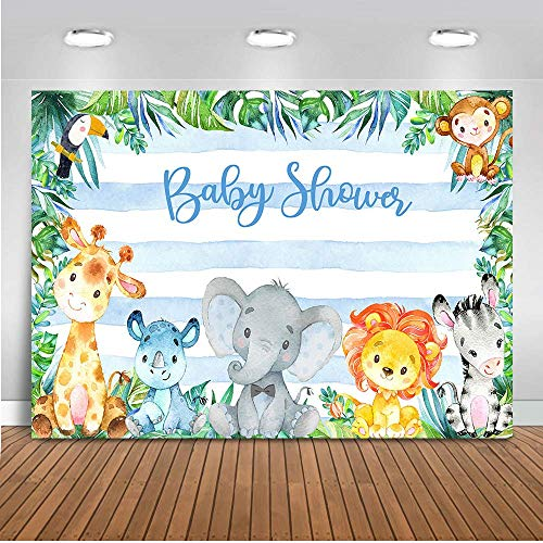 Mocsicka Safari Animals Baby Shower Backdrop Jungle Safari Photography Background 7x5ft Vinyl Safari Baby Shower Party Backdrops -