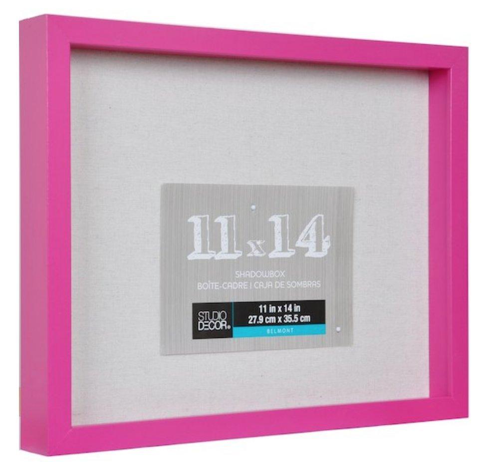 11x14 Bright Pink Shadow Box Display Case Heavy Wood Frame 1'' working depth (White) Nursery Wedding Graduation