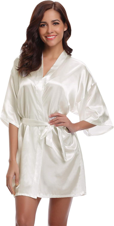 Aibrou Kimono Mujer Bata Novia Dama de Honor Saten Batas Cortos Lenceria de Aspecto Brillante