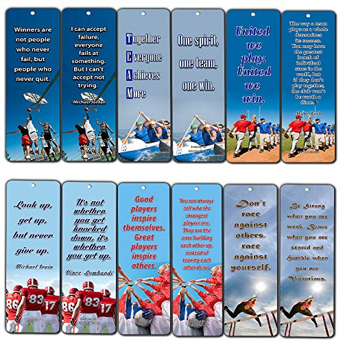 NewEights Sports Inspirational Quotes Bookmark Cards Set (30 Pack) - Teamwork Team Building Success Quotes - Sports Gifts Stocking Stuffers