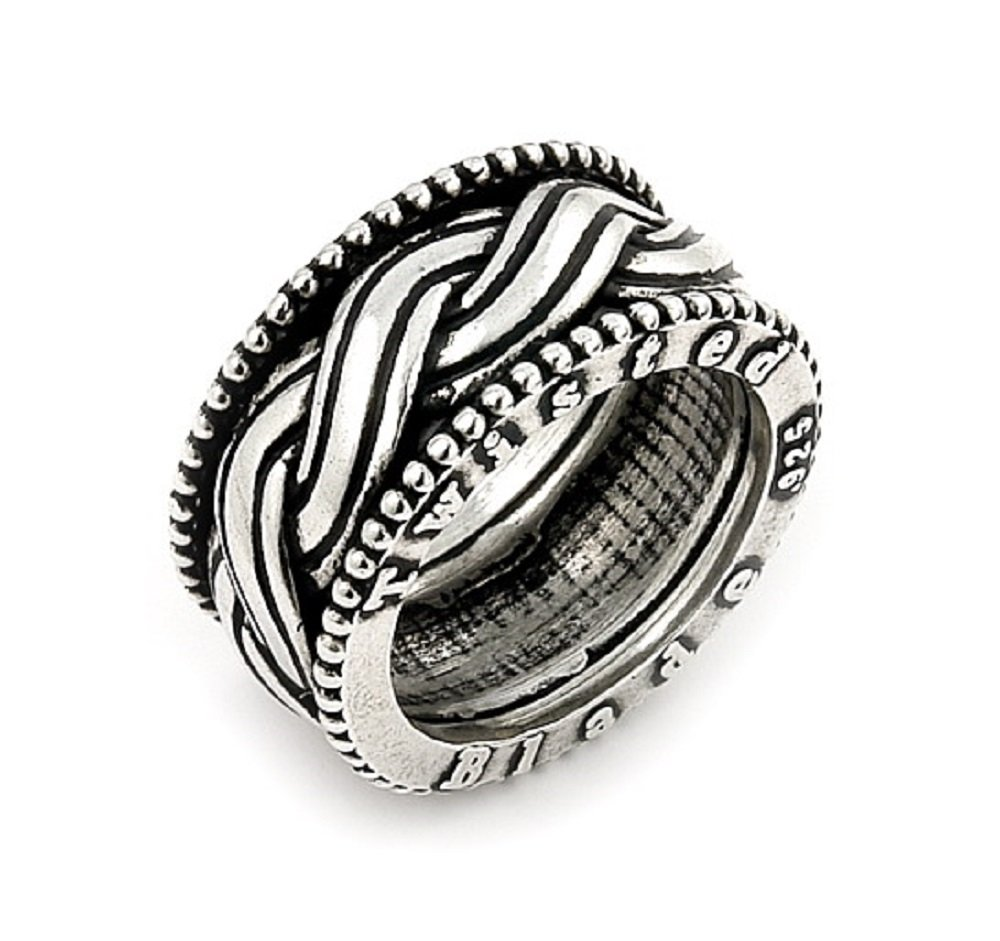 Twisted Blade 925 Sterling Silver Woven Band Ring Size 7