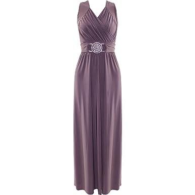Womens Cocktail Buckle Plus Big Size Maxi Dress Ladies Wrapover Evening Dresses