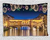 Apartment Decor Tapestry by Ambesonne, Night Panoramic View of Vecchio Bridge Florence Italy with Colorful Fireworks, Wall Hanging Art for Bedroom Living Room Dorm, 60 W X 40 L, Gold Navy Purple