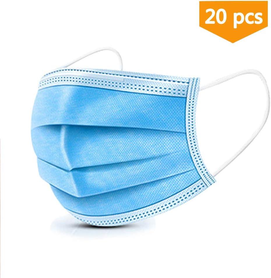 20 máscaras de filtro desechables, 3 capas, para uso quirúrgico, transpirable, para belleza y polvo