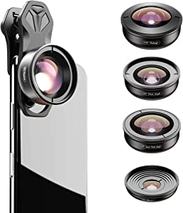 Apexel 5 in 1 Phone Camera Lens Kit -2X Telephoto Lens+195 Fisheye+110 Wide Angle +10X Marco+170 Super Wide Angle Cell Phone Lens Kit for iPhone Samsung and Most of Smartphone