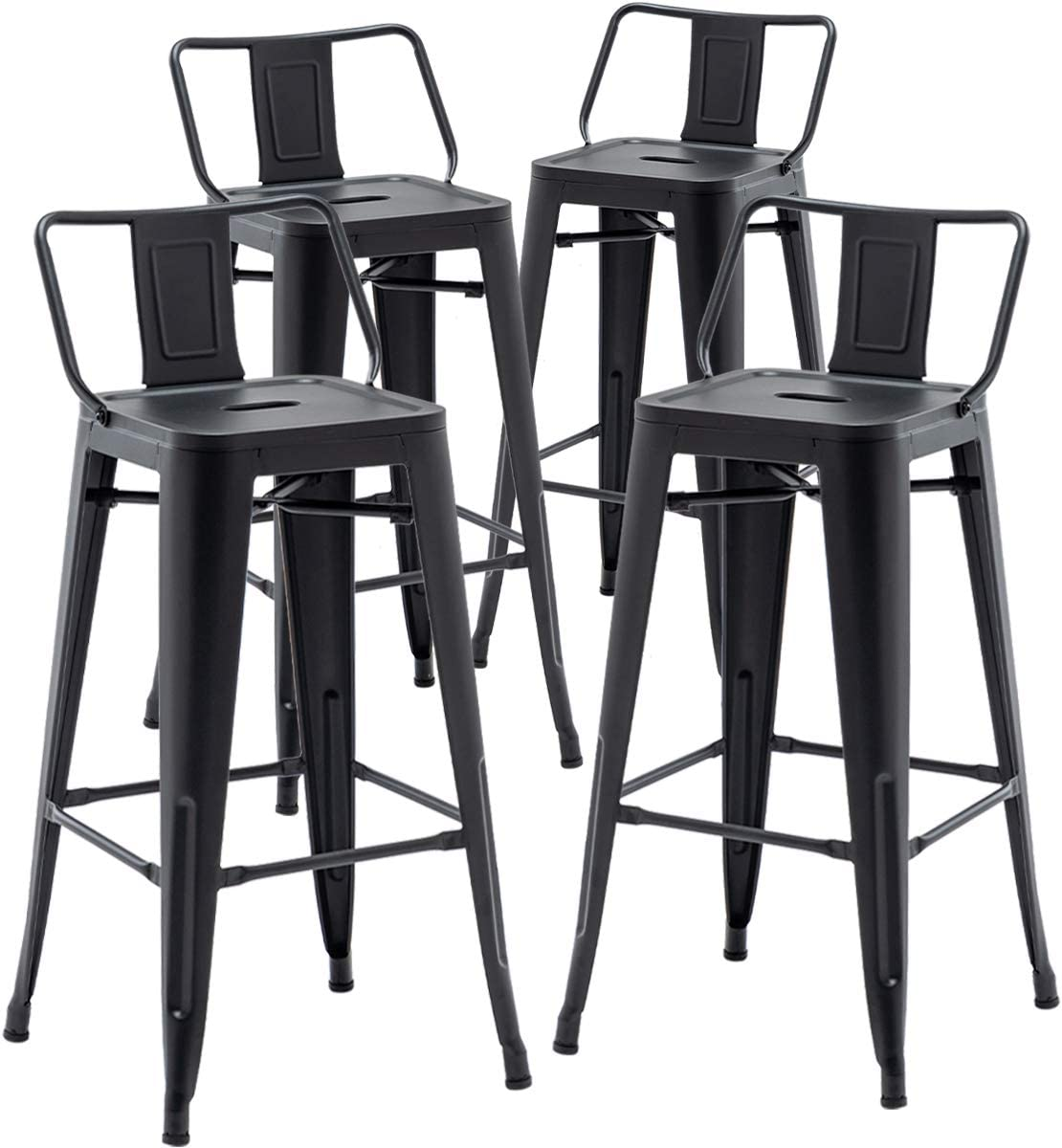TONGLI Metal Bar Stools Set of 4 Counter Height Stools 30 Inchs Counter Stools Black Bar stools with Backs Bar Height Stools Indoor Outdoor Matte Black, Low Back
