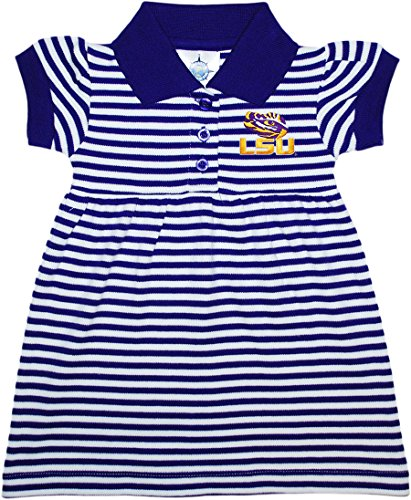 Louisiana State University (LSU) Tigers Striped Game Day Dress with Bloomer,Purple,3-6 Months