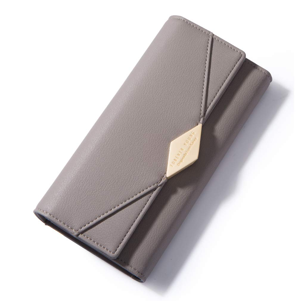 AISIKA Womens Wallet RFID Blocking Vegan Leather Trifold Multi Card Long Wallets (Gray) by AISIKA (Image #1)
