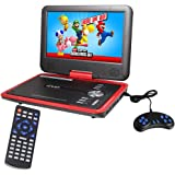 Buyee Handheld Portable DVD Player 9.5 Inch 270 Degree Swivel Screen Support Analog Tv/ Vcd/cd/mp3/mp4/usb TF Card Slot /Card Reader/ Game/fm Radio with Game Controller and Remote Controller (Red)